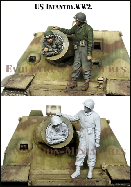 EM35188 Evolution Miniatures Американсие солдаты рядом с штурмтигром (1945г) 1/35