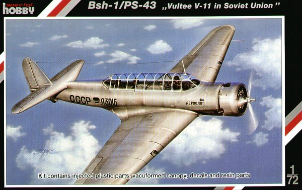 "Сборная модель 72125 Special Hobby Самолёт BSh-1/PS-43 ""Vultee V-11 in Soviet Union"""
