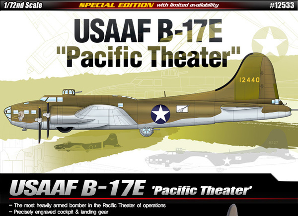 12533 Academy Самолёт B-17E Flying Fortress 'Pacific Theater' 1/72