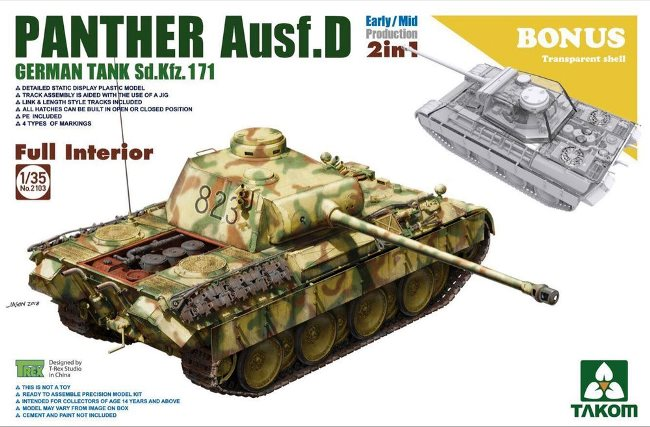2103 Takom Немецкий танк Sd.Kfz.171 Panther D, Early/Mid (2 in1) 1/35